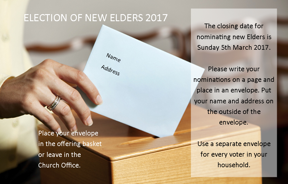 Election of Elders closes Sunday 5th March